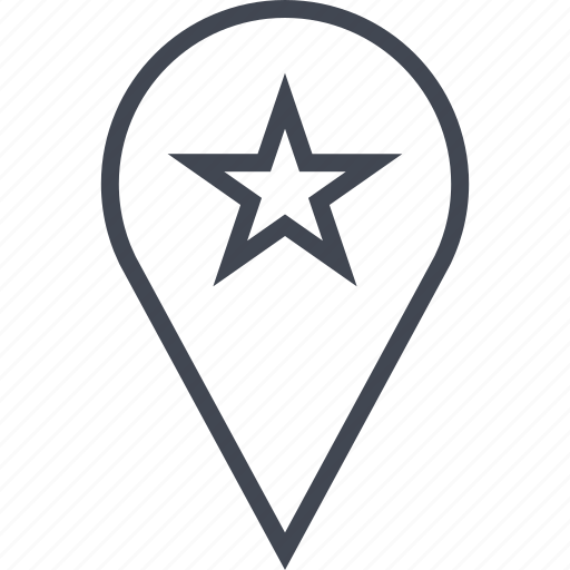 gps, pin, point, star icon