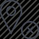 delete, pin, point, x icon