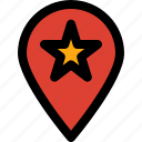 favorite, like, location, map, navigation, pin, star icon