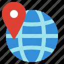 earth, globe, location, map, navigation, pin, world icon