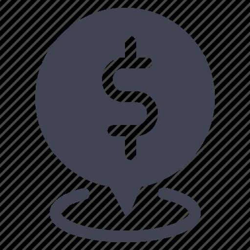 bank, dollar, location, map, navigation, pointer icon