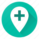 add, location, material design, pin, plus icon