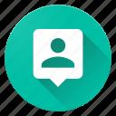 contact, material design, person, person pin, pin icon