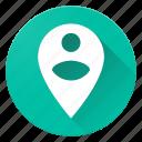 circle, material design, person, person pin, pin icon