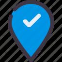 check, location, map, navigation, pin icon