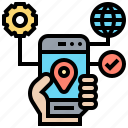 application, connection, location, map, setting icon