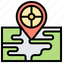 destination, journey, location, map, target icon