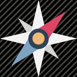 cardinal points, compass, compass rose, directional tool, gps, navigational icon