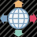 direction arrows, global, globe, map, netowrk, world, worldwide netowrk
