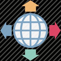 direction arrows, global, globe, map, netowrk, world, worldwide netowrk icon
