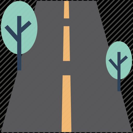 environment, highway, road, shrub tree, track, tree icon