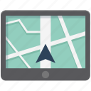 gps, ipad, location, map, map device, navigation, online map icon