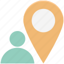 location pin, map pin, navigation, person, person location icon