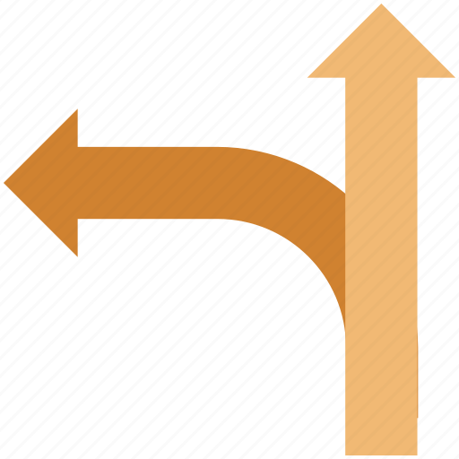 arrow, direction arrows, directions, left arrow, navigation, straight and left, straight to left icon