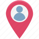 man, man location, map pin, person, person location, pin, user