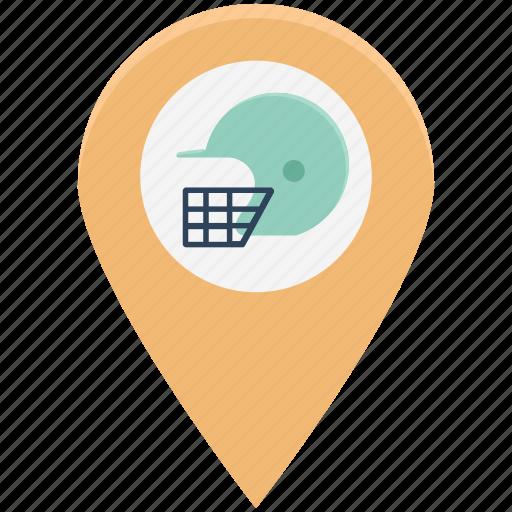 cricket location, football location, hamlet pin, map pin, sport location, sports, sports map pin icon