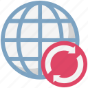 globe, globe grid, globe synchronization, loading arrows, processing arrows, refresh icon