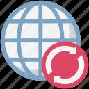 globe, globe grid, globe synchronization, loading arrows, processing arrows, refresh