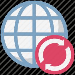 globe, globe grid, globe synchronization, loading arrows, processing arrows, refresh icon