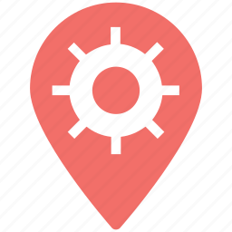 cogwheel and pin, gear wheel, location setting, settings pin, settings sign icon