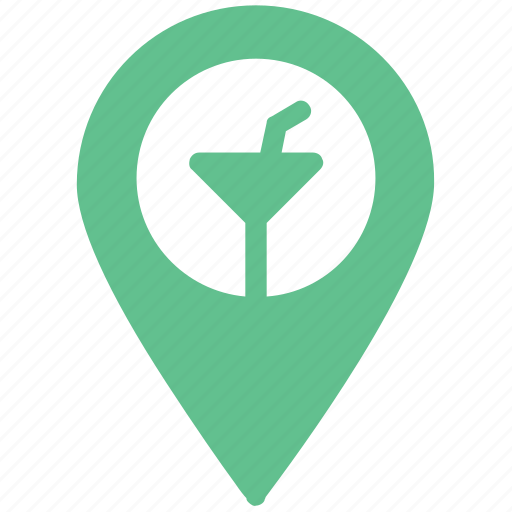 beer bar, beer pub, cocktail bar, mapping pin, pointer button, restaurant sign icon