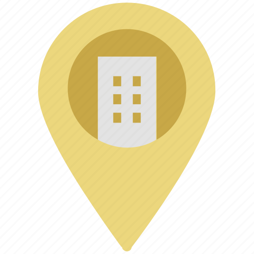 building, court, court building, location sign, map locator, map pointer, pointer button icon