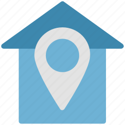 gps, house pointed, house with pin sign, navigation pointer, pin and house icon