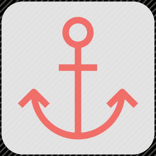 anchor, beach, mapping pin, pointer button, seashore, seaside, shoreline, waterside sign icon