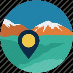 desert, gps, location, mountain, navigation icon