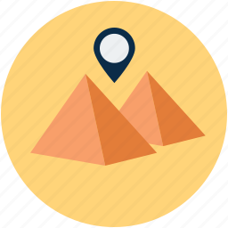 destination, egypt pyramid, gps, location, pyramid shaped icon