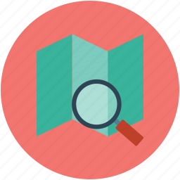 explore, magnifier, magnifying, map, marker, optimization, pin icon