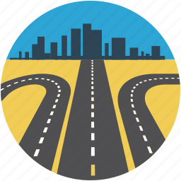 direction, direction road, highway, road, rout, thoroughfare icon