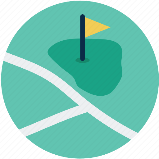 course, course flag, golf course, location, map, navigation icon