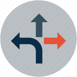 arrow turn, road, road turn, sign, split, street, two-way icon