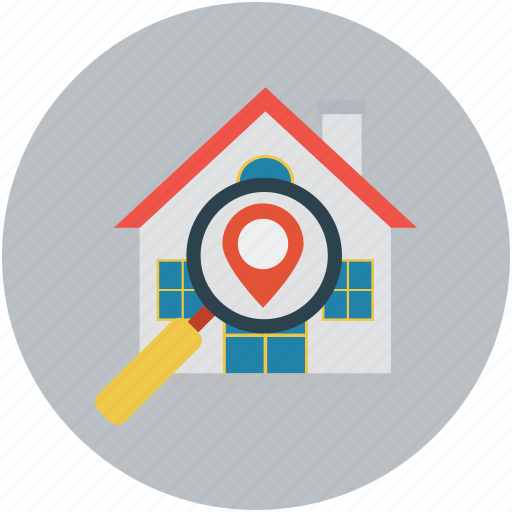building, house, location, search home, search real estate icon