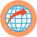 arrow, global, globe, map, map location, world, world map icon