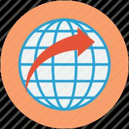 arrow, global, globe, map, map location, world, world map icon