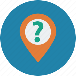 help, information, map pin, map pointer, marker, pin, question mark map pin icon