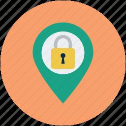 gps, map, map lock pin, map pin, navigation, security icon