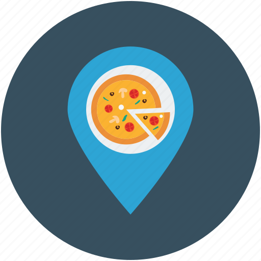 direction, gps, map pin, map plan, navigation, pizza maker location, pizza restaurant icon