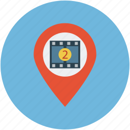 cinema location, film location, gps, location, map, movie theater, navigation, play station icon