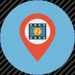 cinema location, film location, gps, location, map, movie theater, navigation, play station icon