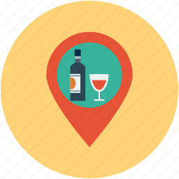 alcohol bar, bar location, champagne bar location, liquor, vodka, wine bar location icon