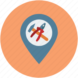 location, map, mechanic location, navigation, service station, tool location, vehicle service location icon