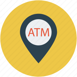 atm location, atm on highway location, bank location, cash withdraw location, location, map, navigation icon