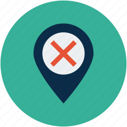 error location, map location, no entry location, pin, point, wrong, wrong direction icon