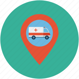 ambulance place location, ambulance transport, health, hospital, map location of transport icon