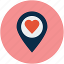 heart location, like location, love location icon