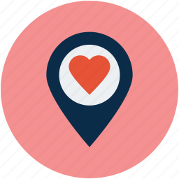 heart location, like location, love location icon