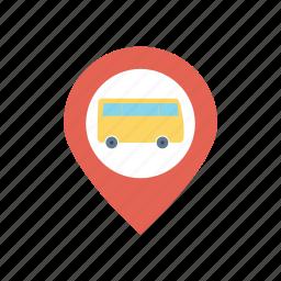 bus, destination, location, pointer icon